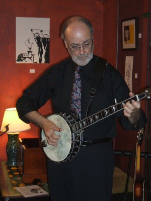 Sir Jim Sallis on the banjo